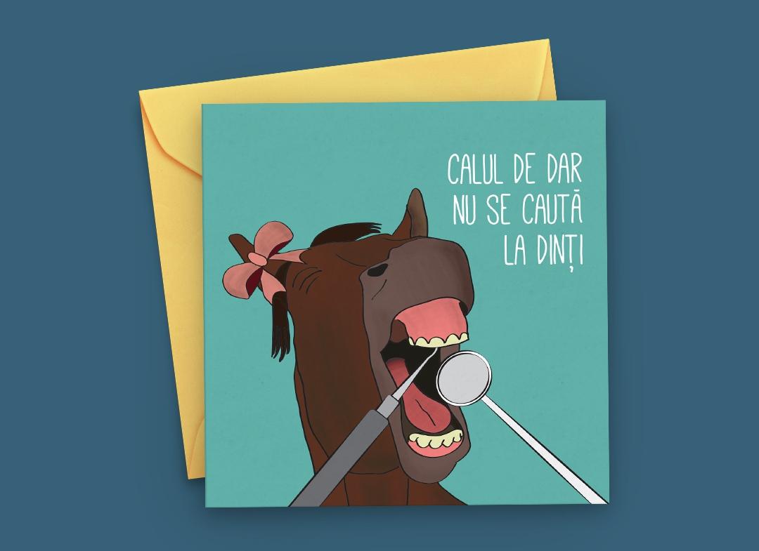Felicitare Calul de Dar nu se cauta la dinti thumbnail