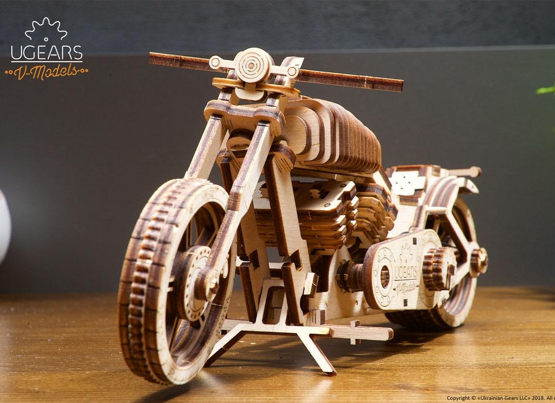 Puzzle 3D Motocicleta VM 02 din lemn Ugears thumbnail