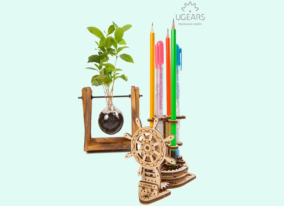 Puzzle 3D Organizator birou cool Ugears thumbnail