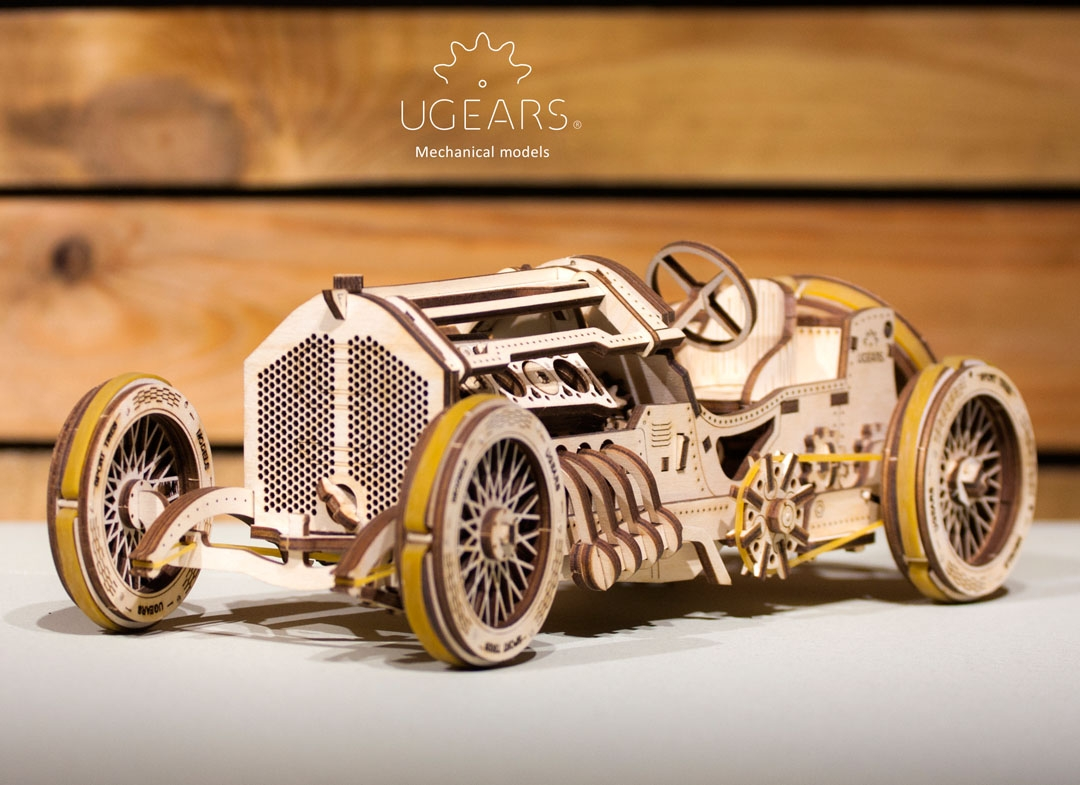 Puzzle 3D Masina Grand Prix U 9 din lemn Ugears